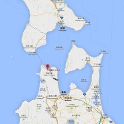 Le tunnel Seikan 青函トンネル qui relie les îles d'Honshû 本州, au sud, et Hokkaidô 北海道 au nord © Google Map